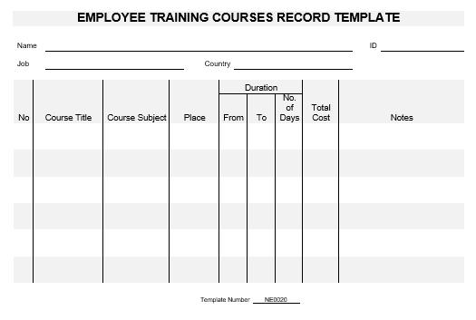 ne0020 employee training courses record template english namozaj. Black Bedroom Furniture Sets. Home Design Ideas