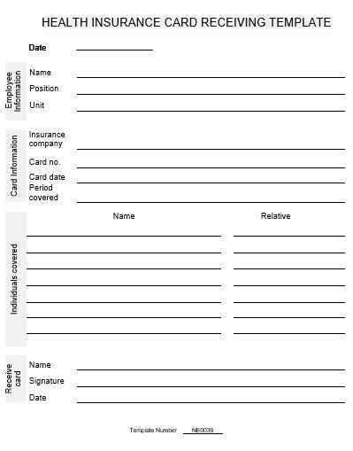 NE0039 Health Insurance Card Receiving Template - English ...