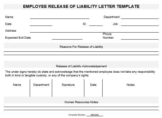 NE0086 Employee Release of Liability Letter Template English – Release of Liability Letter Template