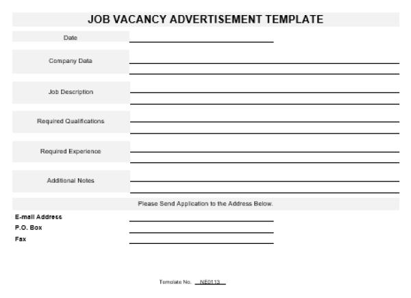 NE0113 Job Vacancy Advertisement Template – English – Namozaj