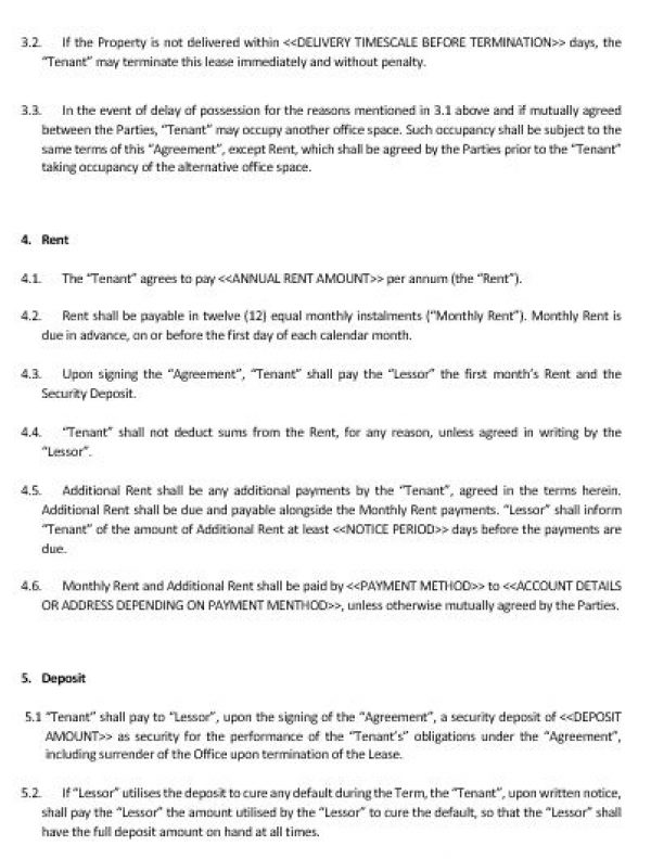 NE0150 Office Lease Agreement Template – English – Namozaj