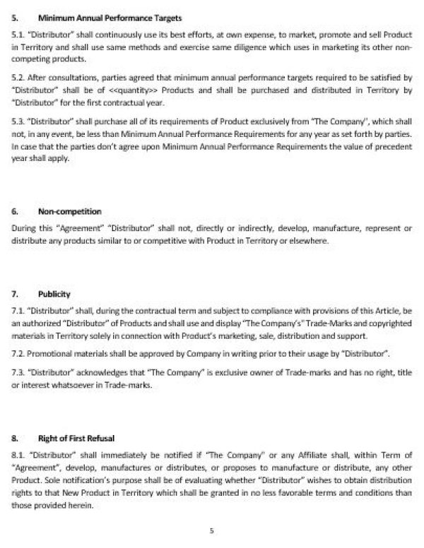 Ne0189 Distribution Of Goods Agreement Template English
