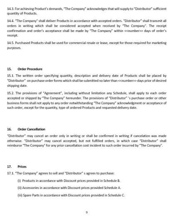 Ne0189 Distribution Of Goods Agreement Template English Namozaj