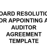NE0169 Board Resolution For Appointing An Auditor Agreement Template - English