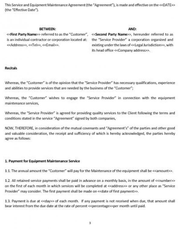 Equipment Maintenance Agreement  Template amp Sample Form