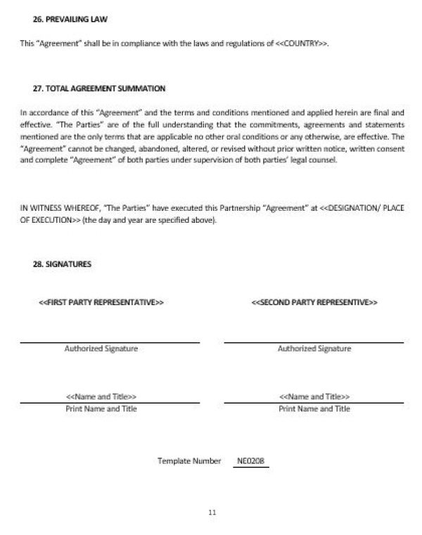 Ne Business Partnership Agreement Template  English  Namozaj