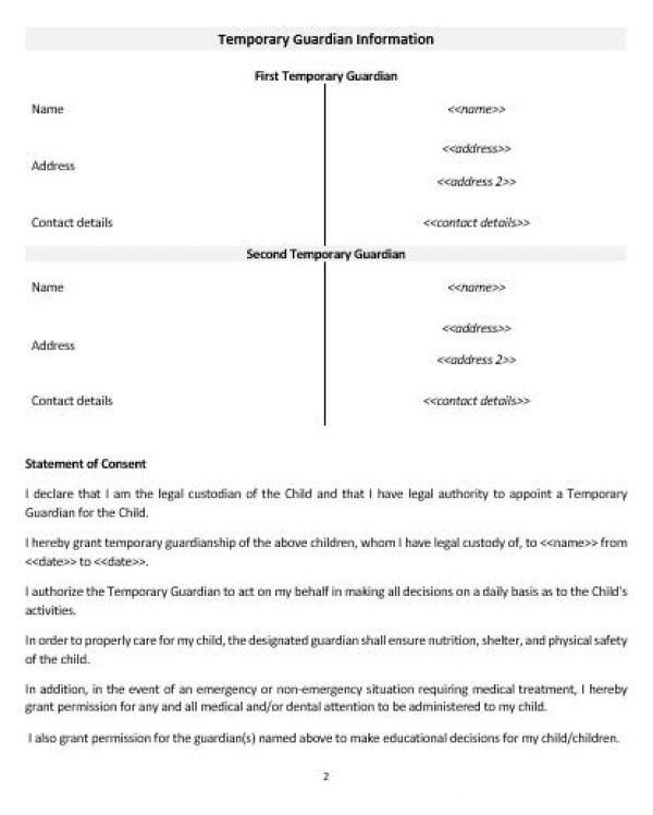 NE0267 TEMPORARY GUARDIANSHIP FOR CARE OF A MINOR TEMPLATE – ENGLISH