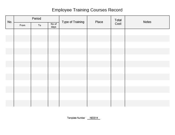 Ne0014 Template For Employee Training Courses Record English Namozaj