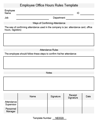 Ne0029 employee office hours rules template english for Employee guidelines template