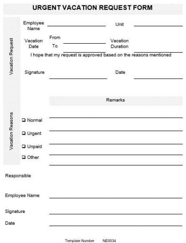 Ne0034 Urgent Vacation Request Form Template – English – Namozaj