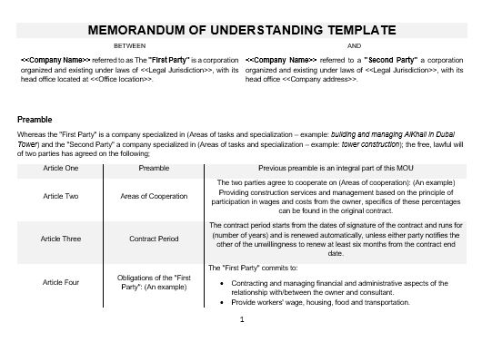 Ne Memorandum Of Understanding Template  English  Namozaj