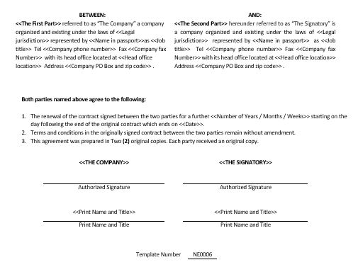 Ne0006 Contract Renewal Agreement Template – English – Namozaj
