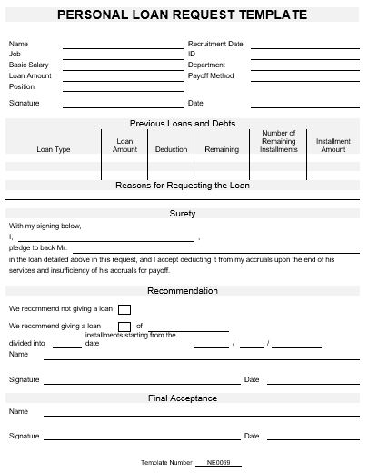 Ne0069 template for request for a personal loan english for Personal surety template