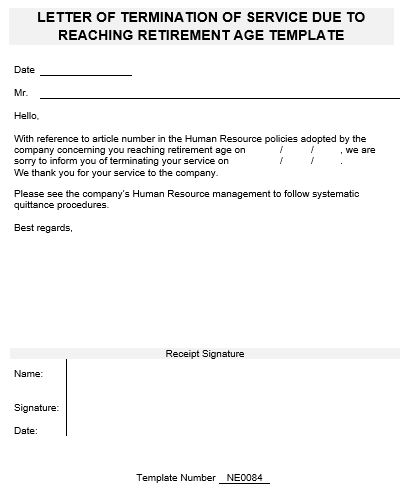 Ne Template For Letter Of Termination Of Service Due To