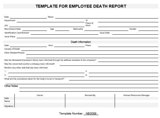 death report template