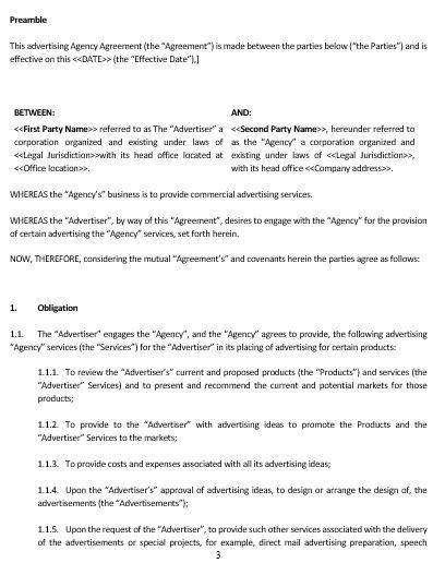 NE0142 Advertising Agency Agreement Template U2013 English