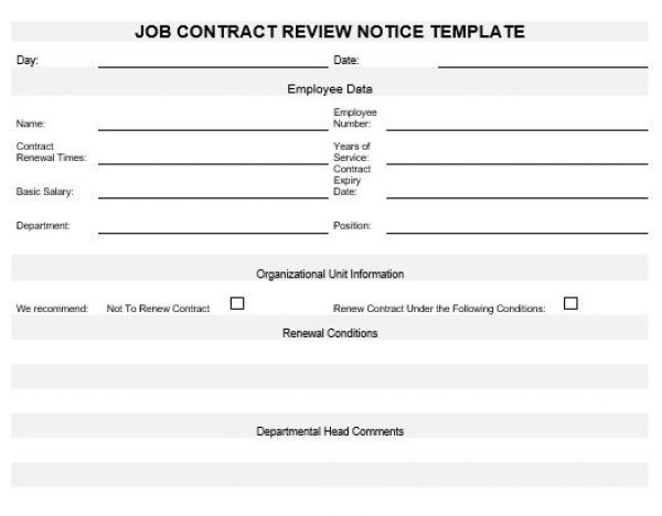 Ne Job Contract Review Notice Template  English  Namozaj