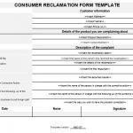 NE0187 Consumer Reclamation Form Template