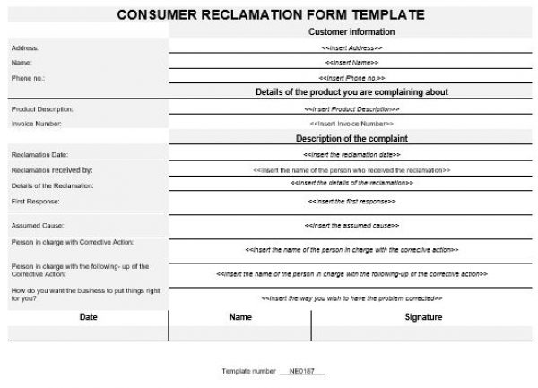 NE0187 Consumer Reclamation Form Template