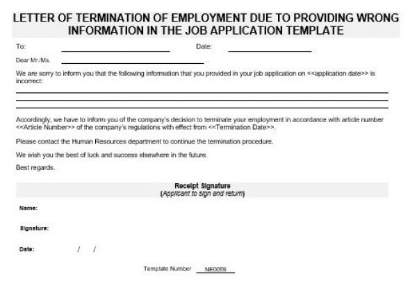 Ne0059 Letter Of Termination Of Employment Due To Providing Wrong