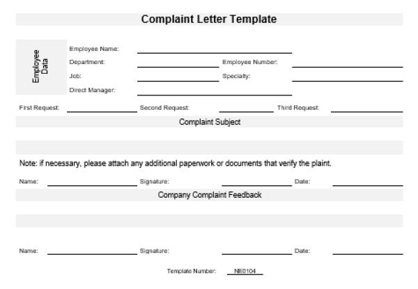NE0104 Complaint Letter Template – English – Namozaj