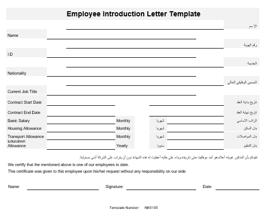 Sale NE0105 Employee Introduction Letter Template English