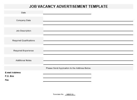 ne0113 job vacancy advertisement template english namozaj. Black Bedroom Furniture Sets. Home Design Ideas