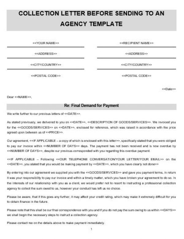 NE0176 COLLECTION LETTER BEFORE SENDING TO AN AGENCY TEMPLATE
