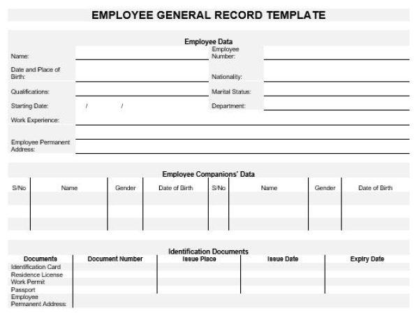 NE0139 Employee General Record Template – English – Namozaj