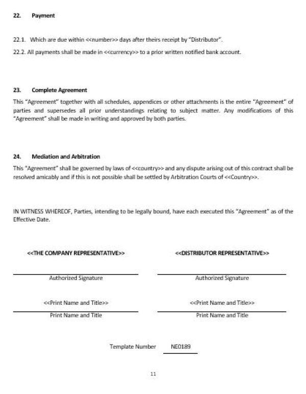 NE0189 Distribution of Goods Agreement Template – English – Namozaj