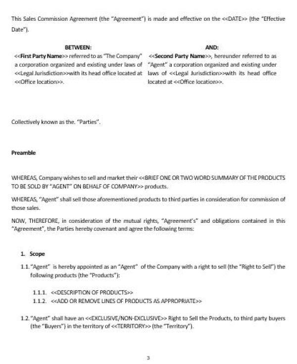 Ne0178 Sales Commission Agreement Template – English – Namozaj