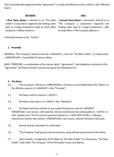 Ne Convertible Note Agreement Template  English  Namozaj