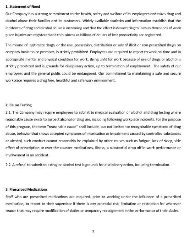 ne0191 substance abuse workplace policy template english