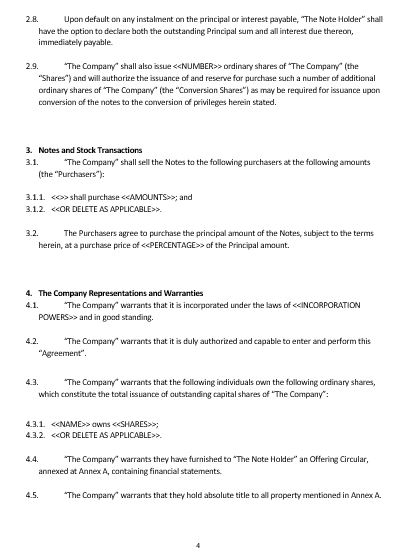 Convertible Note Agreement Template