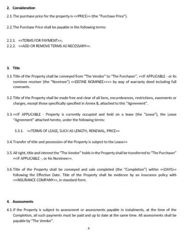 NE0184 Commercial Property Sale Agreement Template English Namozaj – Property Agreement Template