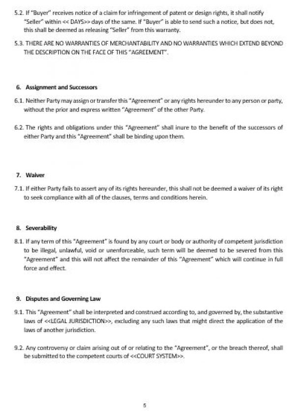 Ne0183 Manufacturing And Sale Of Goods Agreement Template English