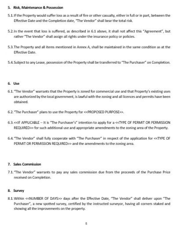 Ne0184 Commercial Property Sale Agreement Template English Namozaj