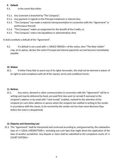 ... Note Agreement Template Namozaj . Convertible ...