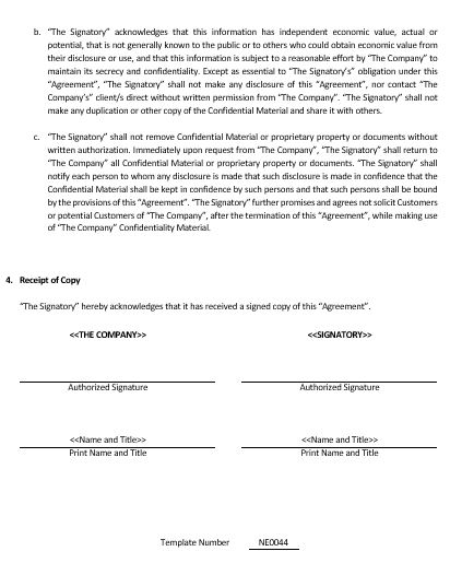 NE0044 General Non Disclosure Agreement Template – English