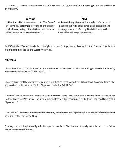 Ne Video Footage Licensing Agreement Template  English  Namozaj