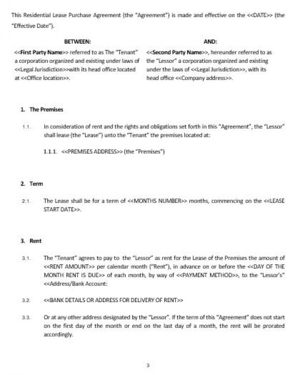 Ne Residential Lease Purchase Agreement Template  English