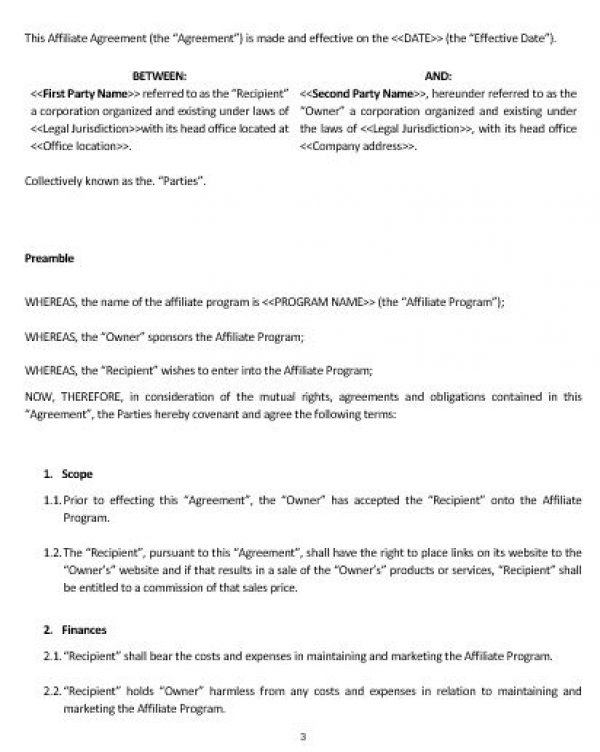 Ne Affiliate Agreement Template  English  Namozaj