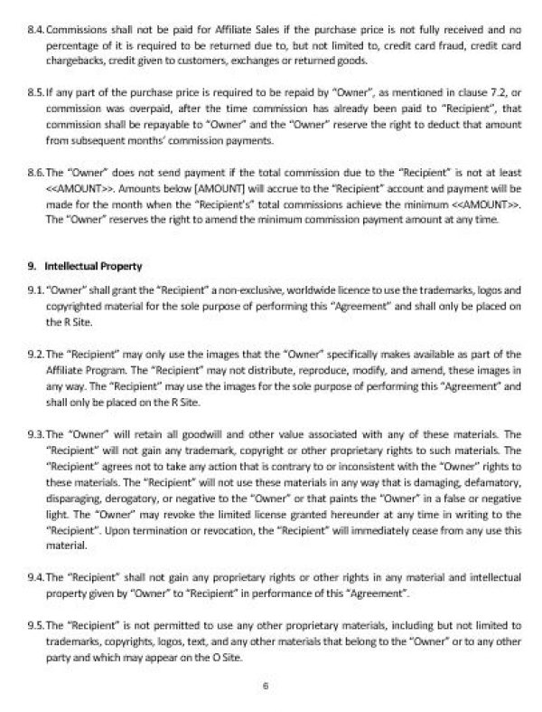 Ne0160 Affiliate Agreement Template – English – Namozaj