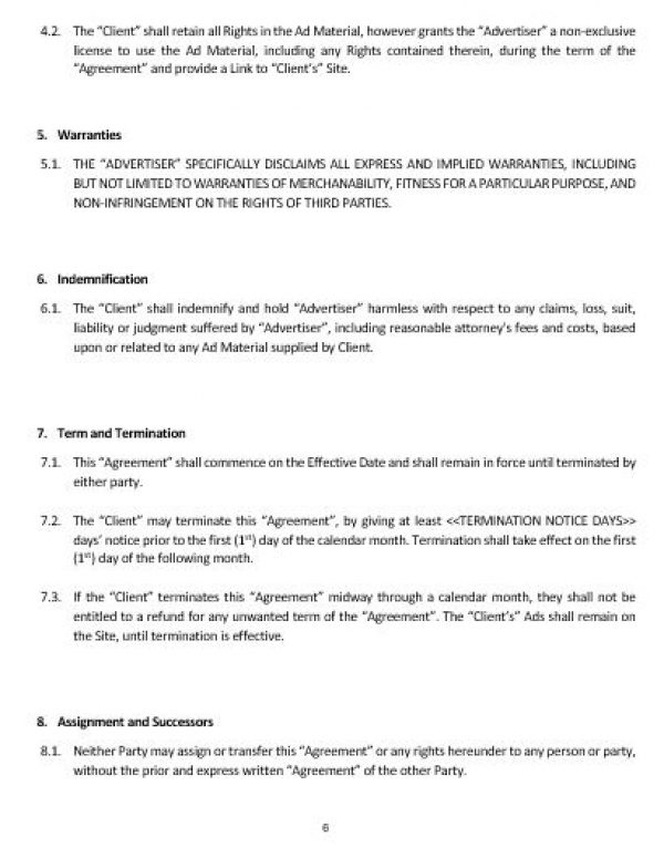 Ne0161 Internet Advertising Services Agreement Template – English