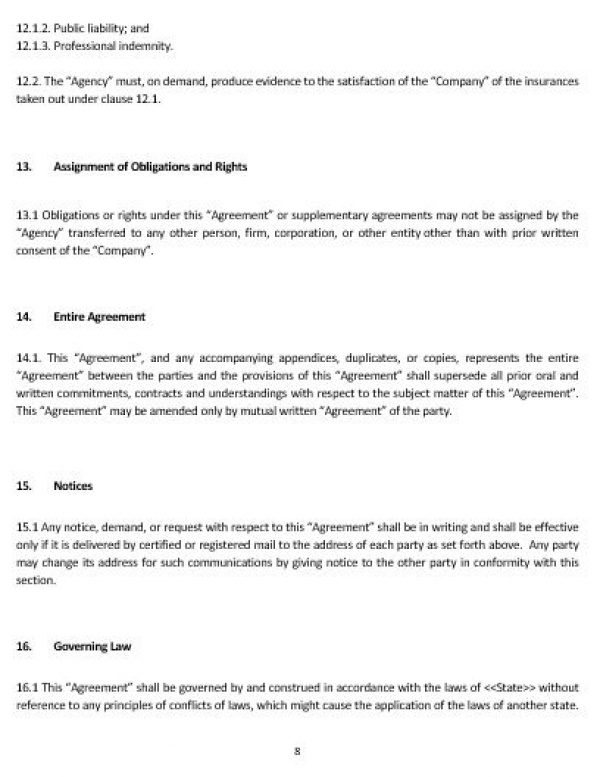 Ne General Agency Agreement Template  English  Namozaj