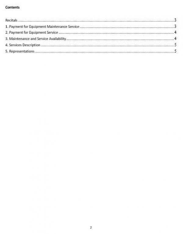Ne0195 Service & Equipment Maintenance Agreement Template