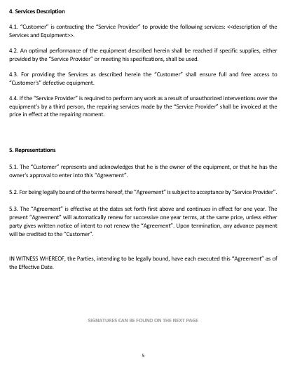 Ne0195 Service Equipment Maintenance Agreement Template English