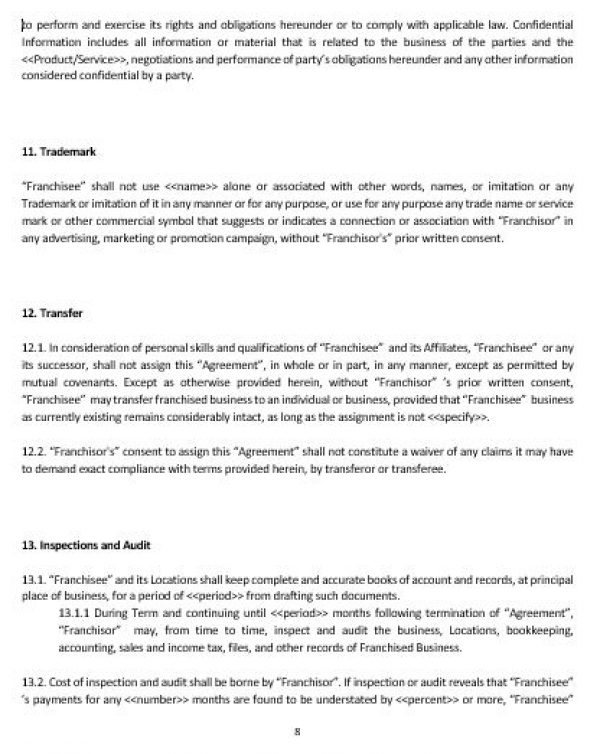 Ne0197 Franchise Agreement Template English