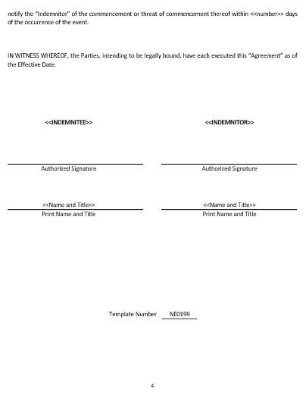 Ne Indemnity Agreement Template  English  Namozaj
