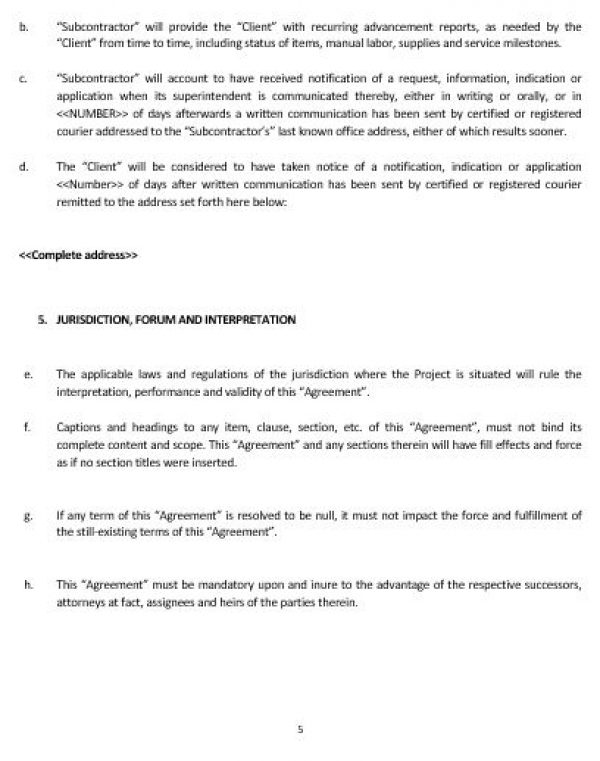 Ne Subcontractor Agreement Template  English  Namozaj